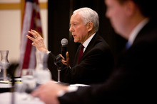 U.S. Sen. Orrin Hatch answers a question during an April 16 debate on the campus of Dixie State College in St. George. Jud Burkett  |  The Spectrum