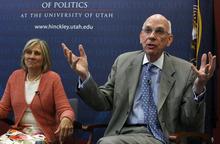 Francisco Kjolseth  |  The Salt Lake Tribune State Sen. Karen Morgan joined former Sen. Bob Bennett at the Hinckley Institute of Politics. File photo.