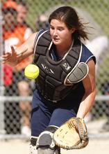 Leah Hogsten     The Salt Lake Tribune Skyline's catcher Kristin Tatum 17 catches a bounced pop up. Skyline High School girls softball team hosted Murray High School Tuesday, May 8 2012 in Salt Lake City.