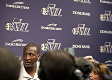 Lennie Mahler  |  The Salt Lake Tribune Jazz head coach Tyrone Corbin speaks to the media during locker clean-out day Tuesday, May 8, 2012, at EnergySolutions Arena. The San Antonio Spurs swept the Jazz out of the playoffs in the first round.