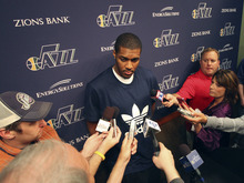 Lennie Mahler  |  The Salt Lake Tribune Derrick Favors speaks to the media during locker clean-out day Tuesday, May 8, 2012, at EnergySolutions Arena. The San Antonio Spurs swept the Jazz out of the playoffs in the first round.