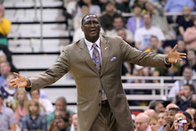Utah Jazz head coach Tyrone Corbin reacts to a foul called on his team during the first half of Game 4 agai nst the San Antonio Spurs in the first-round NBA basketball playoff series, Monday, May 7, 2012, in Salt Lake City. (AP Photo/Colin E Braley)