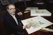 FILE - In this July 26, 1990 file photo, artist Maurice Sendak signs his individual prints from