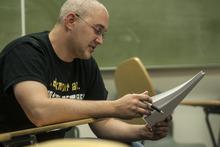 Chris Detrick     The Salt Lake Tribune Army veteran John Gruendell reads his poem in Maximilian Werner's class 'Writing about War' at the University of Utah Tuesday April 17, 2012.