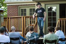 Chris Detrick     The Salt Lake Tribune Veteran Jeff Key talks about his experiences as an openly gay Marine during a gathering at professor Maximilian Werner's house Tuesday April 24, 2012.