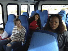 Courtesy photo Taylor Walters and Lindsay Batts on the bus.