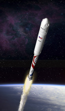Courtesy ATK A Liberty rocket speeds into space in this illustration. ATK announced completion of its Liberty commercial space flight system Wednesday in conjunction with Europe-based Astrium and Lockheed Martin. Test flights are scheduled for 2014, with its first crewed flight in late 2015.