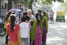 Evelyn (Judi Dench) bonds with the locals in Jaipur, India, in a scene from