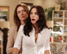 In this publicity image released by ABC, Christa Miller, left and Courteney Cox are shown in a scene from the ABC comedy