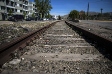Chris Detrick  |  The Salt Lake Tribune Train tracks along 400 West in the Granary District, photographed on Wednesday, May 9, 2012.