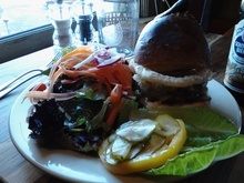 High west burger at High West Distillery & Saloon in Park City.
