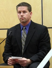 Rick Egan  | The Lake Tribune   Detective Gary Sanders takes the stand before the opening statements in Steve Powell's  trial for voyeurism charges in the Pierce County Superior Court house, in Tacoma, Washington, Wednesday, May 9, 2012.