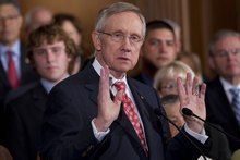 Senate Majority Leader Sen. Harry Reid, D-Nev., speaks during a news conference on debt ceiling legislation on Capitol Hill on Saturday, July 30, 2011, in Washington. (AP Photo/Evan Vucci)