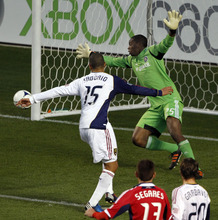 Chicago Fire's goalie Sean Johnson, top right, has a shot by Real Salt Lake's Alvaro Saborio (15) go wide of the goal during the first half of an MLS soccer game on Wednesday, May 9, 2012, at Toyota Park in Bridgeview, Ill. (AP Photo/John Smierciak)