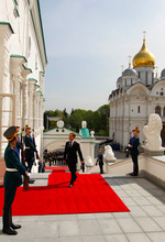 Russian President Dmitry Medvedev walks to take part in an inauguration ceremony of president elect Vladimir Putin on Monday, May 7, 2012.  (AP Photo/RIA Novosti Kremlin, Mikhail Klimentyev, Presidential Press Service)