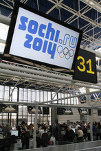 This May 26, 2010 file photo shows passengers registering for flights at the airport in the Russian Black Sea resort of Sochi.  Russia's secret service says it has foiled terror attack plans in Sochi ahead of the 2014 Winter Games. (AP Photo/Igor Yakunin, File)