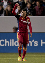Real Salt Lake midfielder Javier Morales salutes the crowd after scoring during the second half of their MLS soccer match against the Los Angeles Galaxy, Saturday, March 10, 2012, in Carson, Calif. Real Salt Lake won 3-1. (AP Photo/Bret Hartman)
