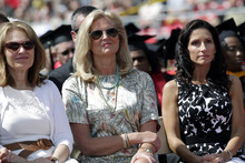 Ann Romney, center, wife of Republican presidential candidate, former Massachusetts Gov. Mitt Romney, and Becki Falwell, right, wife of Liberty University chancellor Jerry Falwell Jr., attend the commencement address at the Liberty University in Lynchburg, Va, Saturday, May 12, 2012. (AP Photo/Jae C. Hong)