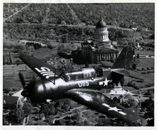 Tribune file photo  A military fighter flies over Salt Lake City on Oct. 26, 1945.