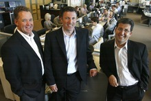 Rick Egan  | The Salt Lake Tribune Ryan Gibbons, left, Jason Langston and Al Manbeian, are the managing partners of GPS Capital Markets in South Jordan. In 10 years, the firm has grown to a player in the industry of helping businesses with foreign currency transactions.