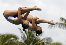 Team USA's Christina Loukas and Kassidy L. Cook perform during the women's 3-meter springboard synchronized finals at the USA Diving Grand Prix in Fort Lauderdale, Fla., Sunday, May 13, 2012. (AP Photo/Alan Diaz)