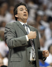 Los Angeles Clippers head coach Vinny Del Negro watches his team play the Memphis Grizzlies in the first half of Game 7 in a first-round NBA basketball playoff series on Sunday, May 13, 2012, in Memphis, Tenn. (AP Photo/Mark Humphrey)
