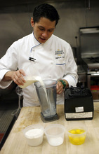 Francisco Kjolseth  |  The Salt Lake Tribune Jeffrey de Leon, executive pastry chef at the Grand America Hotel in Salt Lake City, demonstrates how to make a crepe. Step No. 1: Place milk, eggs, and vanilla extract into a blender or food processor. Add flour mixture. Pulse until all ingredients are combined and the mixture is without lumps.