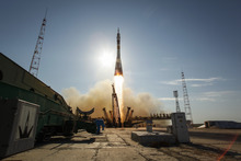 In a photo provided by NasaThe Soyuz TMA-04M rocket launches from the Baikonur Cosmodrome in Kazakhstan on Tuesday, May 15, 2012 carrying Expedition 31 Soyuz Commander Gennady Padalka, NASA Flight Engineer Joseph Acaba and Flight Engineer Sergei Revin to the International Space Station.  (AP Photo/NASA, Bill Ingalls)