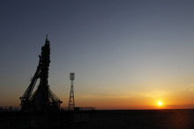 The Soyuz-FG rocket with Soyuz TMA-04M space ship which will carry a new crew to the International Space Station, ISS, sits before its launch at the Russian leased Baikonur Cosmodrome, Kazakhstan, Tuesday, May 15, 2012.  (AP Photo/Yuri Kochetkov, Pool)