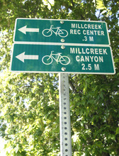 Rick Egan  |  The Salt Lake Tribune  This bike route sign was installed on Evergreen Avenue Monday as part of the Salt Lake County Connectivity Project. The bike routes will link into Salt Lake City's more advanced network.