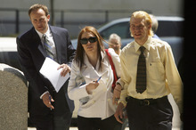 Francisco Kjolseth  |  The Salt Lake Tribune Shannon Price, center, ex-wife of actor Gary Coleman, appears in 4th District Court in Provo on Monday, May 7, 2012, for the start of a two-day hearing over the late Coleman's estate. At left is Shannon's attorney Todd Bradford and her brother Sam Price.