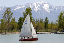 Al Hartmann  |  The Salt Lake Tribune Folks take their small sailboat onto Utah Lake on May 15 the hottest day of the year.