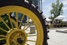 Chris Detrick  |  The Salt Lake Tribune A 1936 John Deere B tractor owned by Marvin and Carma Hansen on display during a public celebration at the Federal Building commemorating the 150th anniversary of the United States Department of Agriculture Tuesday May 15, 2012. The USDA was established May 15, 1862 by President Abraham Lincoln