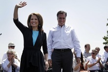 FILE - In this May 3, 2012, file photo, Republican presidential candidate, former Massachusetts Gov. Mitt Romney and Rep. Michele Bachmann, R-Minn., arrive at a campaign stop in Portsmouth, Va. Remember Newt Gingrich calling Mitt Romney a liar? Bachmann saying Romney's unelectable? Rick Santorum calling Romney
