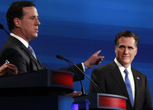 FILE - In this Jan. 16, 2012 file photo Republican presidential candidates former Pennsylvania Sen. Rick Santorum counters former Massachusetts Gov. Mitt Romney, right, during the South Carolina Republican presidential debate in Myrtle Beach, S.C. Remember Newt Gingrich calling Romney a liar? Michele Bachmann saying Romney's unelectable? Santorum calling Romney