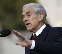 FILE - In this April 5, 2012 file photo, Republican presidential candidate Rep. Ron Paul, R-Texas speaks Berkeley, Calif.  One by one _ with the exception of holdout Paul _ the GOP also-rans have coughed up endorsements of their onetime rival. And as they do, they're pulling rhetorical backflips to distance themselves from their former harsh assessments of Romney.  (AP Photo/Ben Margot, File)