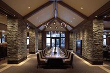 The large oak Communal Table at the J&G Grill in Park City is 28 feet by 4 feet and seat up to 28 people. Courtesy St. Regis Deer Valley