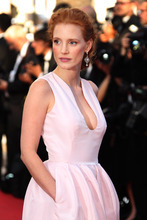 Actress Jessica Chastain arrives for the opening ceremony and screening of Moonrise Kingdom at the 65th international film festival, in Cannes, southern France, Wednesday, May 16, 2012. (AP Photo/Joel Ryan)