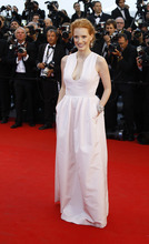 Actress Jessica Chastain arrives for the opening ceremony and screening of Moonrise Kingdom at the 65th international film festival, in Cannes, southern France, Wednesday, May 16, 2012. (AP Photo/Francois Mori)