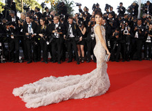 Actress Eva Longoria arrives for the opening ceremony and screening of Moonrise Kingdom at the 65th international film festival, in Cannes, southern France, Wednesday, May 16, 2012. (AP Photo/Joel Ryan)