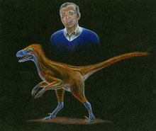 The Utah Geological Survey has discovered a new raptor dinosaur species, dubbed Yurgovuchia doellingi. It is named in honor of long-time UGS geologist Helmut Doelling, pictured here in this artist's depiction. The genus name is based on the Ute word for coyote because the new species is believed to be a small, craft predator the size of coyote.  Courtesy Brad Wolverton  |  Utah Geological Survey