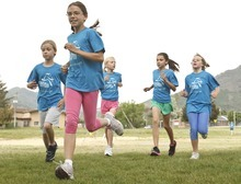 Leah Hogsten  |  The Salt Lake Tribune Rebecca Hinckley (front) leads the group around Morningside Elementary's palyground.  Morningside Elementary 3rd -6th grade girls run into shape after school for a 5k run with the guidance of  trained coaches that mentor the girls Wednesday, May 16 2012 in Salt Lake City..  Girls on the Run is a national non-profit in 43 states. The 12-week program concludes with all participants walking or running in a 5K (3.1 mile) event.