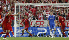 Bayern's Thomas Mueller celebrates after scoring during the Champions League final soccer match between Bayern Munich and Chelsea in Munich, Germany Saturday May 19, 2012. (AP Photo/Matt Dunham)