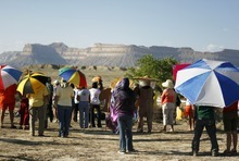 Kim Raff | The Salt Lake Tribune Protesters listen to speakers during a rally near the proposed construction site for nuclear reactors in Green River, Utah on May 19, 2012.