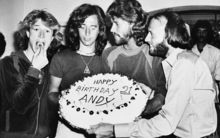 In this March 6, 1979, file photo, Andy Gibb eats a cherry from his birthday cake at a party given by his family in his home in Miami Beach, Fla. A representative said on Sunday, May 20, 2012,  Robin Gibb, has died. He was 62. (AP Photo/File)