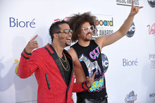 SkyBlu, left, and Redfoo of LMFAO arrive at the 2012 Billboard Awards at the MGM Grand on Sunday, May 20, 2012 in Las Vegas, N.V.  (AP Photo/John Shearer)