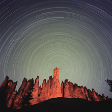 Francisco Kjolseth   Tribune file photo Known as one of the darkest places in the country, Bryce Canyon National Park in southern Utah is a spectacular place to view the night sky.  Captured on a film exposure of 6hrs, stars form long trails as the earth rotates on its axis during a dark new moon cycle.