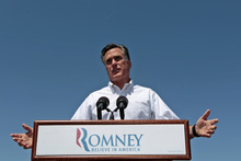 Republican presidential candidate, former Massachusetts Gov. Mitt Romney speaks in Hillsborough, N.H., Friday, May 18, 2012.  (AP Photo/Mary Altaffer)