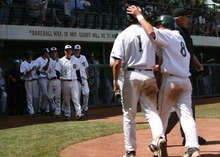 Leah Hogsten  |  The Salt Lake Tribune  Snow Canyon's Brayden Linde and Chandler Day made two scoring runs off pitcher Austin Ovard's bat in the 5th.  Snow Canyon High School boys baseball team defeated Juan Diego during their final 3A State Championship Game 5-1 Saturday, May 19 2012 in Kearns.
