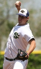 Leah Hogsten  |  The Salt Lake Tribune  Snow Canyon pitcher Michael Jensen. Snow Canyon High School boys baseball team defeated Juan Diego during their final 3A State Championship Game 5-1 Saturday, May 19 2012 in Kearns.